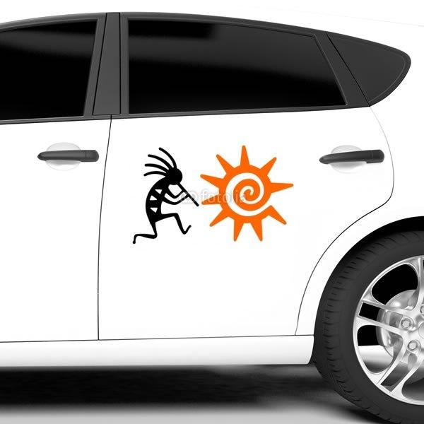 【車ステッカー】ココペリと太陽
