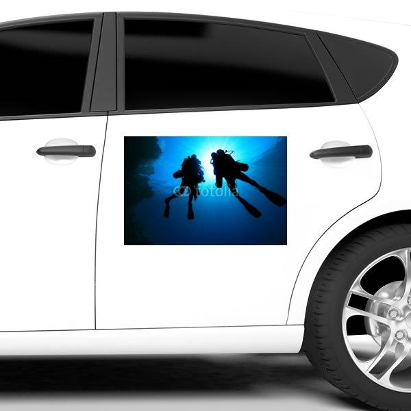 【車ステッカー】ダイバーのシルエット