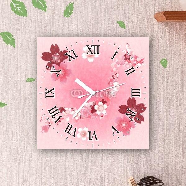 【掛け時計】桜模様の日本地図