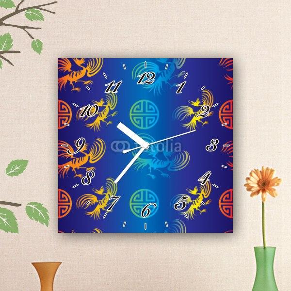 【掛け時計】鳳凰と雷紋 パターン