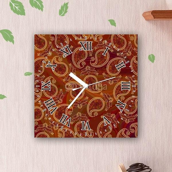 【掛け時計】ブラウンペイズリー