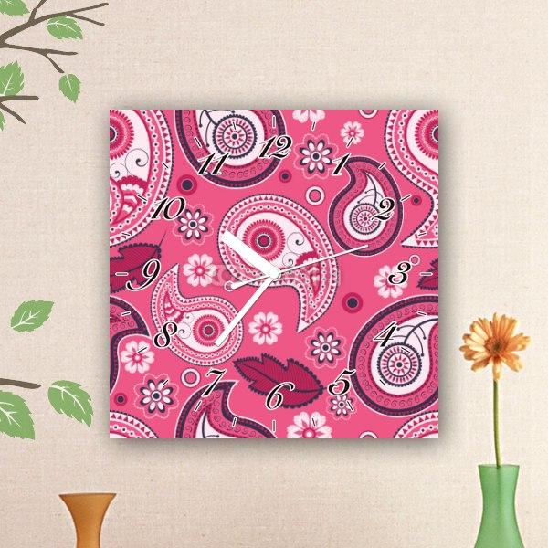 【掛け時計】ピンクのペイズリー