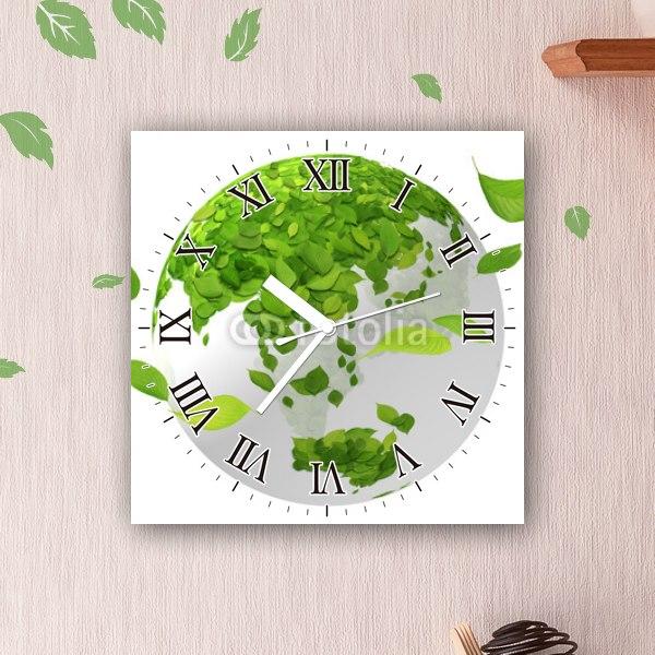 【掛け時計】緑の葉っぱの地球儀