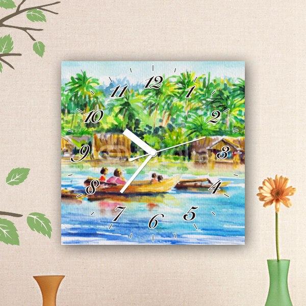 【掛け時計】川でボートに乗る人々