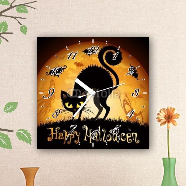 【掛け時計】ハロウィンイラスト・黒猫