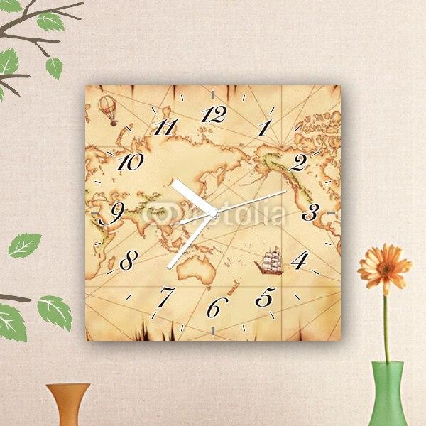 【掛け時計】年代物の世界地図