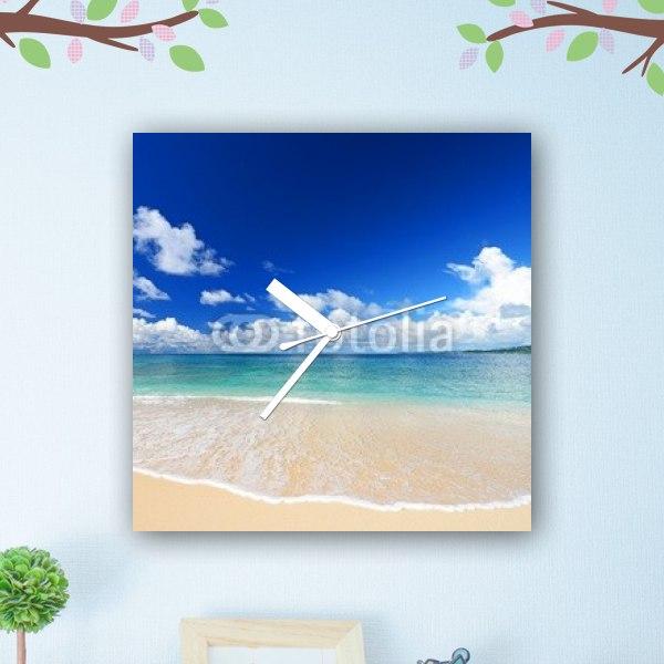 【掛け時計】南国のビーチと白い波