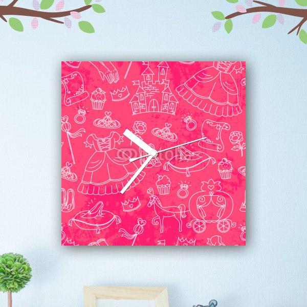 【掛け時計】ピンクのプリンセス