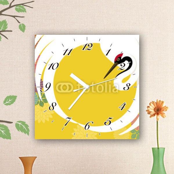 【掛け時計】鶴と菊