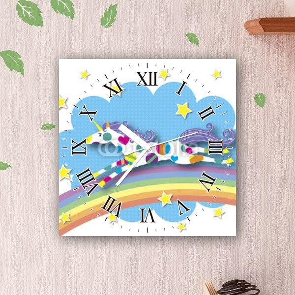【掛け時計】虹とユニコーン