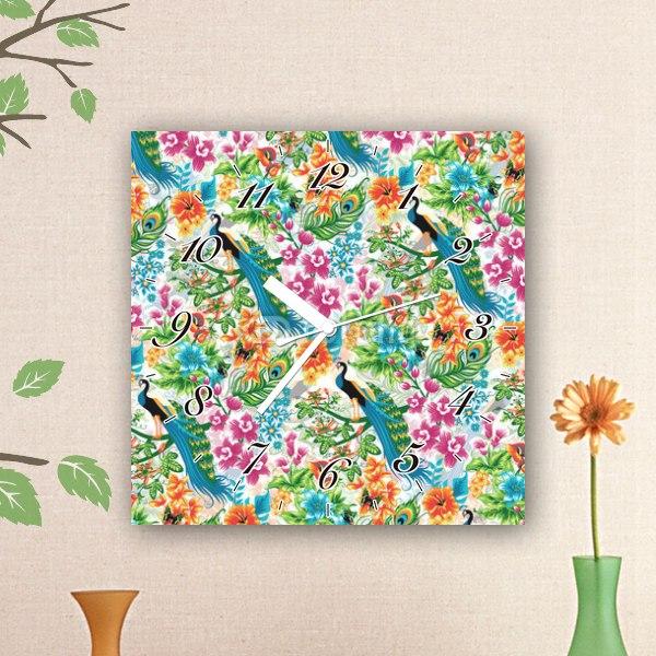 【掛け時計】南国花とクジャク