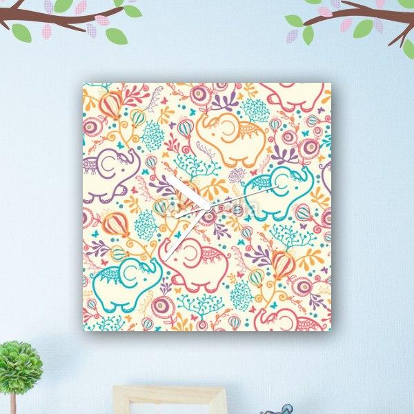 【掛け時計】ゾウと小花のファブリック