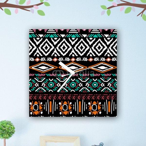 【掛け時計】アステカ族パターン