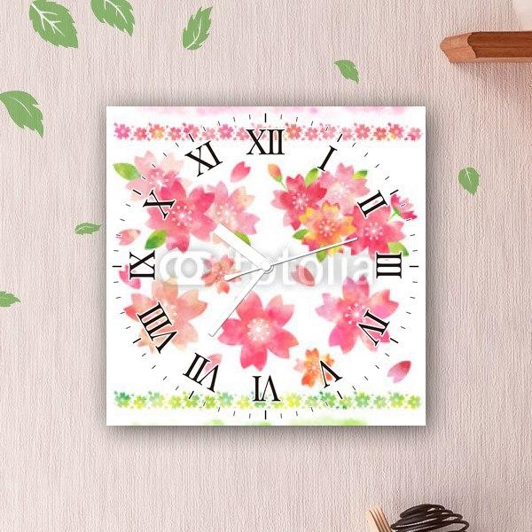 【掛け時計】桜の素材・水彩風