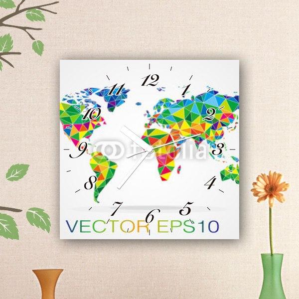 【掛け時計】モザイクワールドマップ