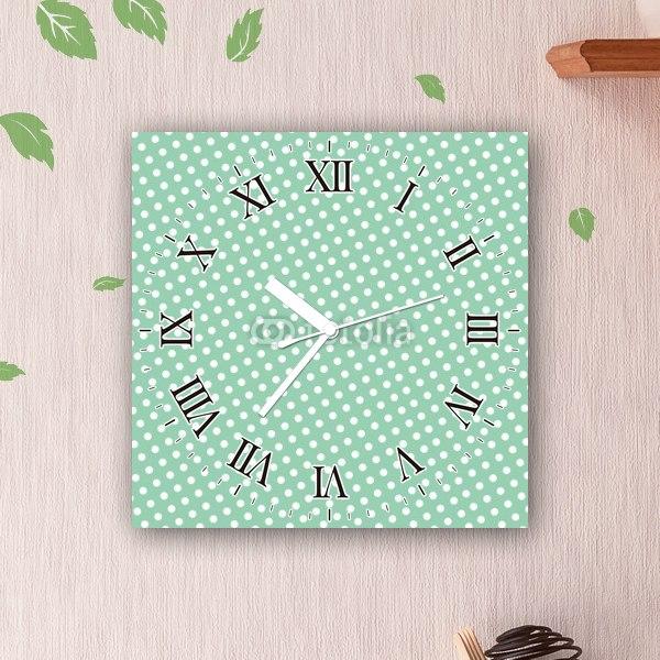 【掛け時計】ドットパターン・グリーン