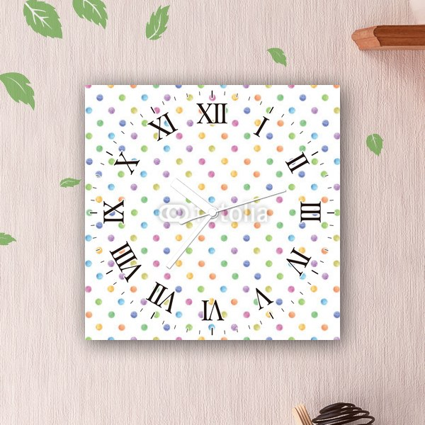 【掛け時計】カラフル・ドットパターン