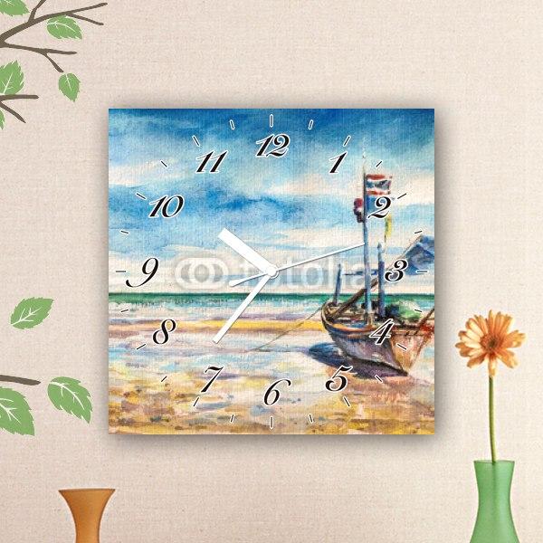 【掛け時計】釣り船の水彩画