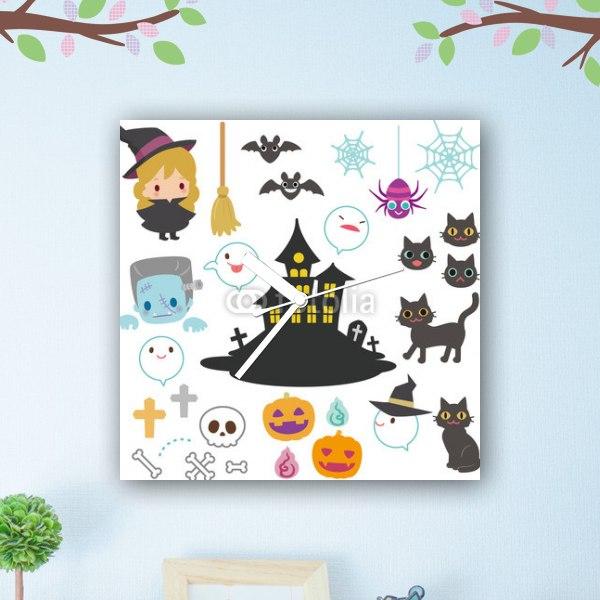 【掛け時計】ハロウィンのおばけとおばけ屋敷