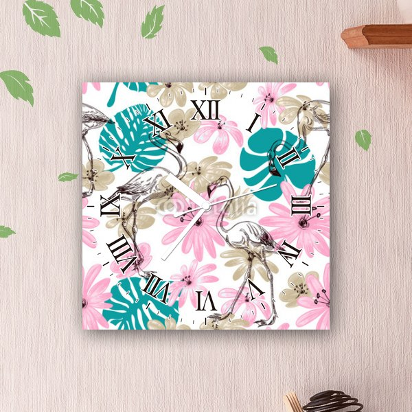 【掛け時計】花とフラミンゴ
