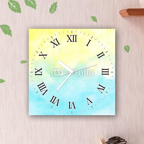 【掛け時計】黄色と青のグラデーション
