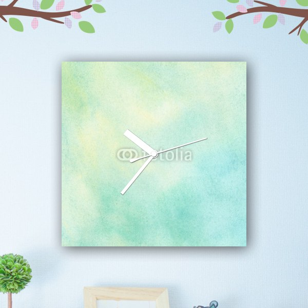 【掛け時計】グリーンの水彩グラデーション