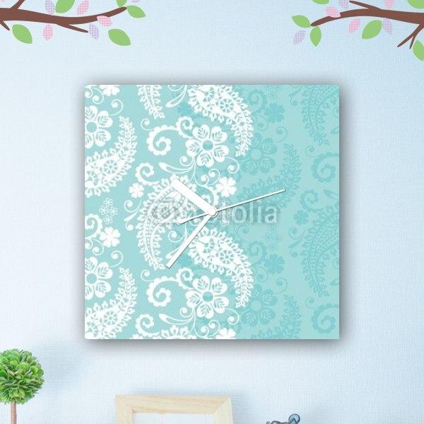 【掛け時計】花とペイズリー柄 ブルー×ホワイト