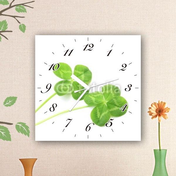 【掛け時計】二つの四つ葉のクローバー