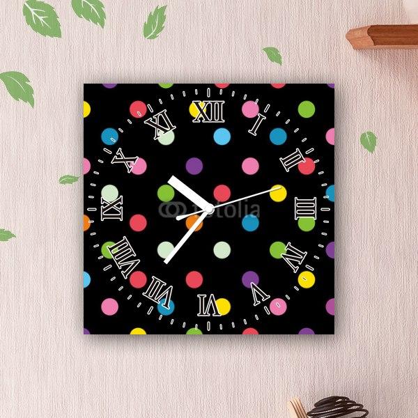 【掛け時計】カラフルドットとブラック背景