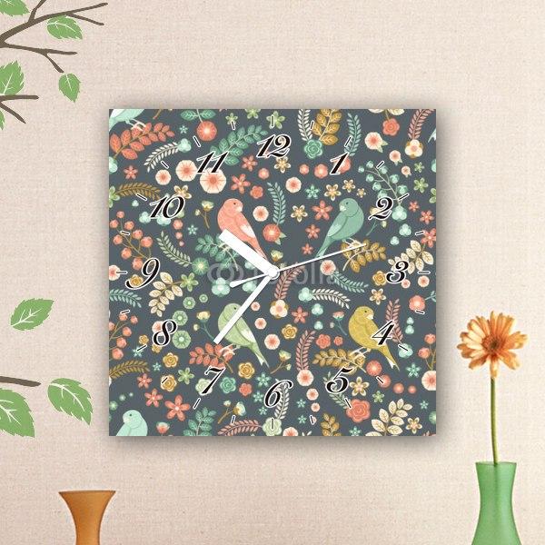 【掛け時計】小鳥とお花のパターン