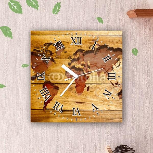 【掛け時計】ビンテージ・ワールドマップ
