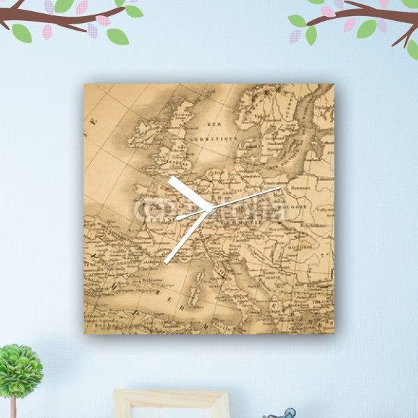 【掛け時計】アンティークの世界地図・ヨーロッパ大陸