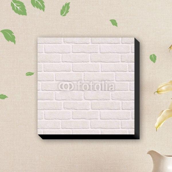 【キャンバスアート】ホワイトブリックウォール風ファブリックボード