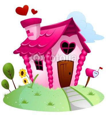 【インテリアシール】ピンクのラブリーハウス 壁シール