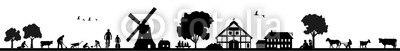 【インテリアシール】農場と風車のある風景 ウォールステッカー