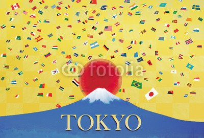 【インテリアシール】世界の国旗と富士山 ウォールステッカー