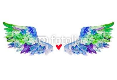 【インテリアシール】ハートと天使の羽 壁シール