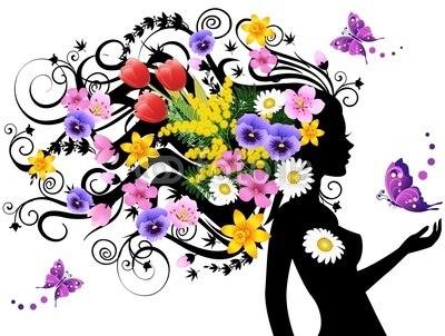 【インテリアシール】春の髪飾り 壁シール