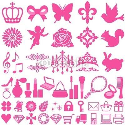 【インテリアシール】ピンクのあれこれアイコン 壁シール
