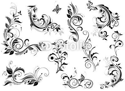 【インテリアシール】モノトーンの飾り花 壁シール
