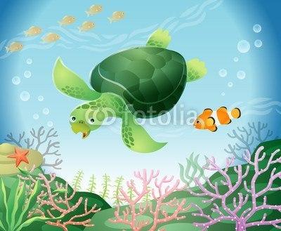 【インテリアシール】海中の亀 ウォールステッカー