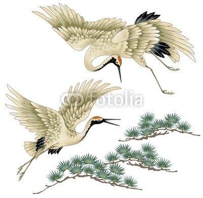 【インテリアシール】屏風絵 鶴と松 壁シール