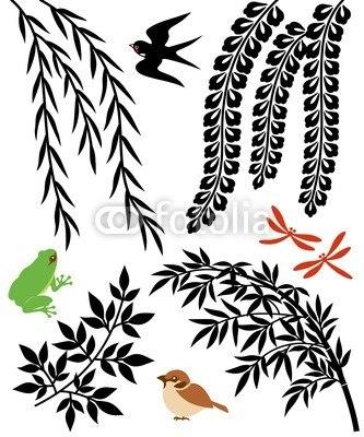 インテリアシール柳と笹と藤の花 イラストステッカー ウォールステッカー
