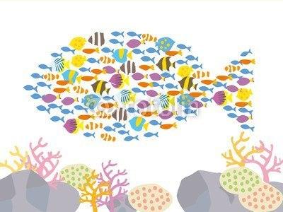 【インテリアシール】海のお魚達 壁シール