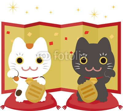 【インテリアシール】2匹の招き猫と金の屏風 壁シール