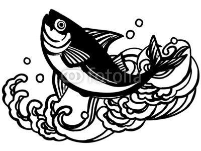 【インテリアシール】まぐろの大漁旗 ウォールステッカー