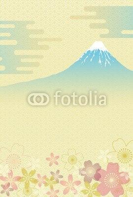 【インテリアシール】和柄の富士と桜 ウォールステッカー