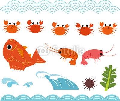 【インテリアシール】めでたい!大漁!海の幸 壁シール