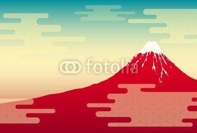 【インテリアシール】赤富士の風景 ウォールステッカー