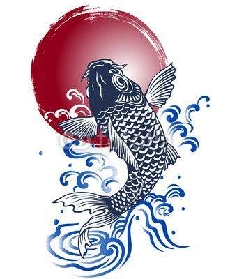 【インテリアシール】日本的な鯉 ウォールステッカー